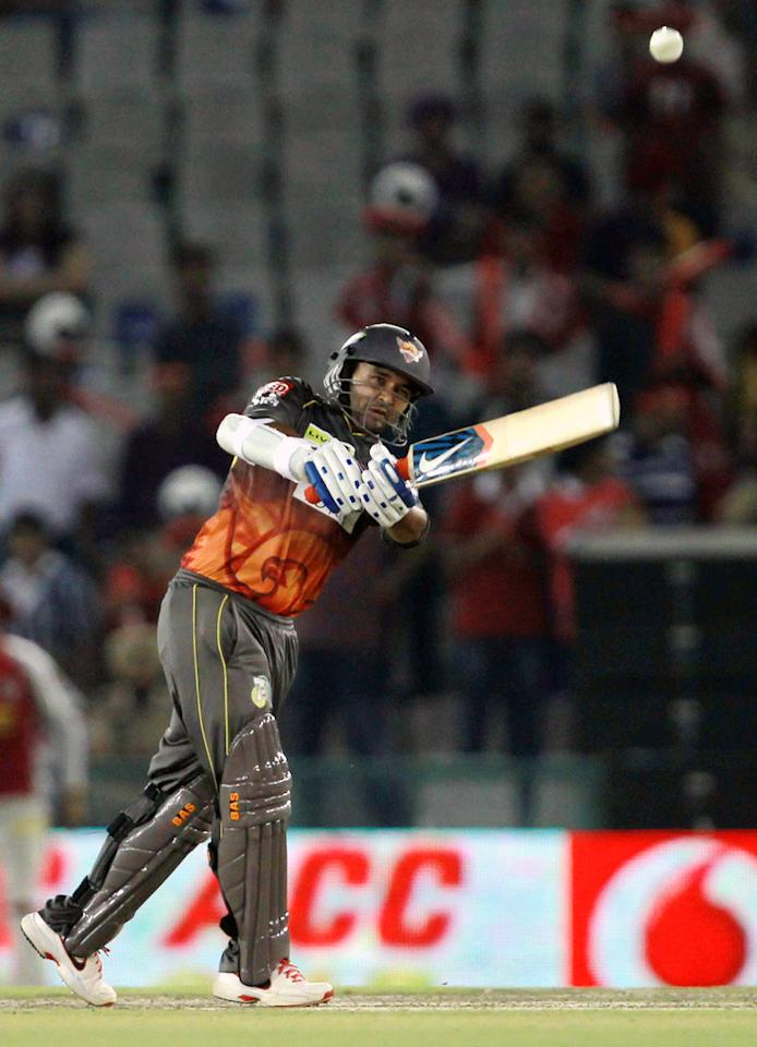 Parthiv Patel hits a boundary during match 59 of of the Pepsi Indian Premier League between The Kings XI Punjab and the Sunrisers Hyderabad held at the PCA Stadium, Mohali, India  on the 11th May 2013. (BCCI)