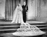 Princess Elizabeth and Prince Philip at their wedding on November 20th, 1947. It took place in Westminster Abbey and the Queen wore a satin gown designed by Norman Hartnell. The BBC broadcast the ceremony via radio to 200 million people globally.