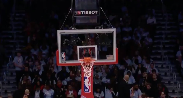 Zion Williamson dunked so hard at the Rising Stars Challenge that he bent the hoop support on Friday night at the United Center in Chicago. (Screenshot: TNT)