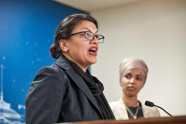 PHOTO: U.S. Reps. Rashida Tlaib and Ilhan Omar hold a news conference on August 19, 2019, in St. Paul, Minnesota. (Adam Bettcher/Getty Images)