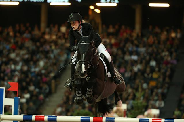 Equestrian - Sweden International Horse Show - International jumping - Qualification for Sweden Masters - Friends Arena, Stockholm, Sweden - December 1, 2017. Janne-Friederike Meyer of Germany on a horse Soccero 2 jumps. TT News Agency/Soren Andersson/via REUTERS ATTENTION EDITORS - THIS IMAGE WAS PROVIDED BY A THIRD PARTY. SWEDEN OUT. NO COMMERCIAL OR EDITORIAL SALES IN SWEDEN