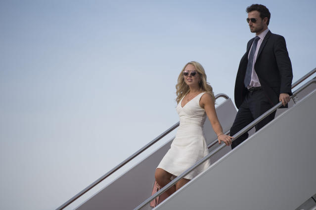 Tiffany Trump and Ross Mechanic walk off Air Force One at Andrews Air Force Base, MD, on April 16, 2017.  (Photo: JIM WATSON/AFP/Getty Images)