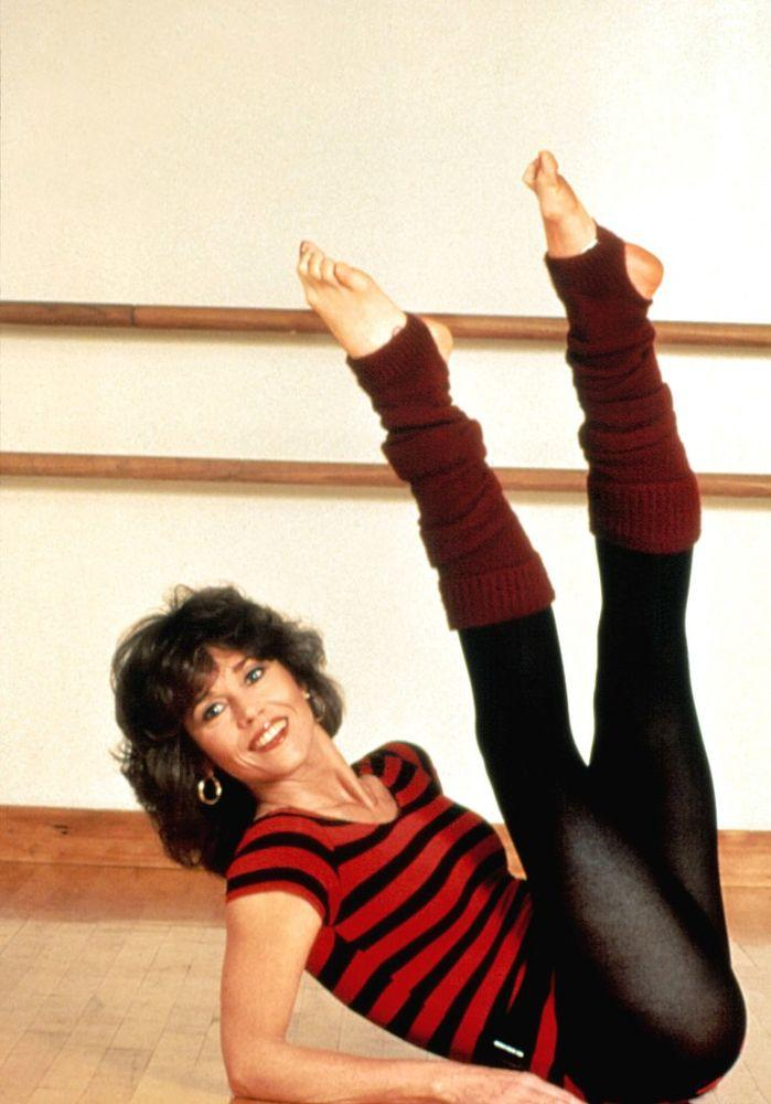 Posing for <em>Jane Fonda's Workout</em> video in 1982.