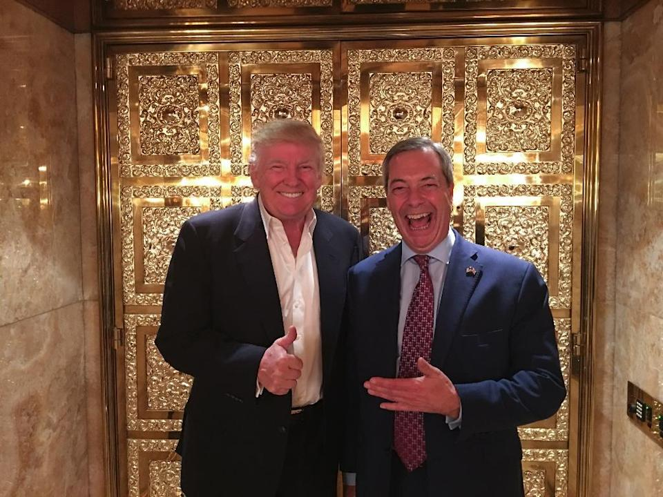Brexit leader Nigel Farage (R), who has been closely aligned with President Donald Trump, agreed to become a contributor to US-based Fox News on January 20, 2017 (AFP Photo/Andy Wigmore)