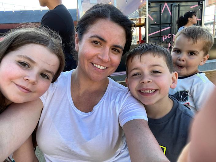 """Psychologist Alana Pace, pictured above with her children, encourages parents to change the way they think of screen time. <p class=""""copyright"""">Alana Pace</p>"""