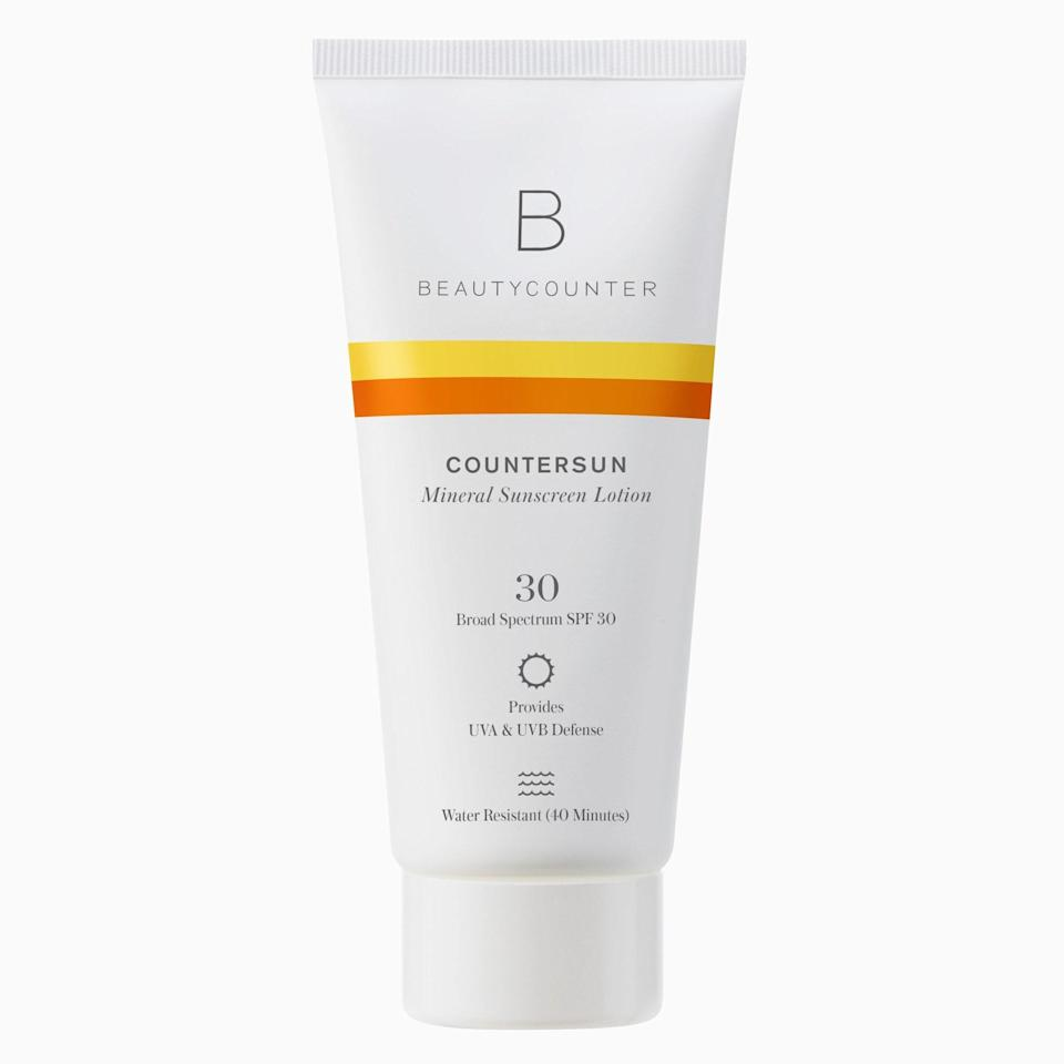 """<p>Beautycounter's Countersun Mineral Sunscreen Lotion SPF 30 was described by one <a href=""""https://www.allure.com/review/beautycounter-countersun-mineral-sunscreen-lotion-spf-30?mbid=synd_yahoo_rss"""" rel=""""nofollow noopener"""" target=""""_blank"""" data-ylk=""""slk:Allure reviewer"""" class=""""link rapid-noclick-resp""""><em>Allure</em> reviewer</a> as """"a sunscreen that you legit don't mind using every day,"""" which is some damn good praise. It's formulated with zinc oxide and natural oils including peppermint, tangerine, and aloe.</p> <p><strong>$39</strong> (<a href=""""https://www.beautycounter.com/product/countersun-mineral-sunscreen-lotion-spf-30"""" rel=""""nofollow noopener"""" target=""""_blank"""" data-ylk=""""slk:Shop Now"""" class=""""link rapid-noclick-resp"""">Shop Now</a>)</p>"""
