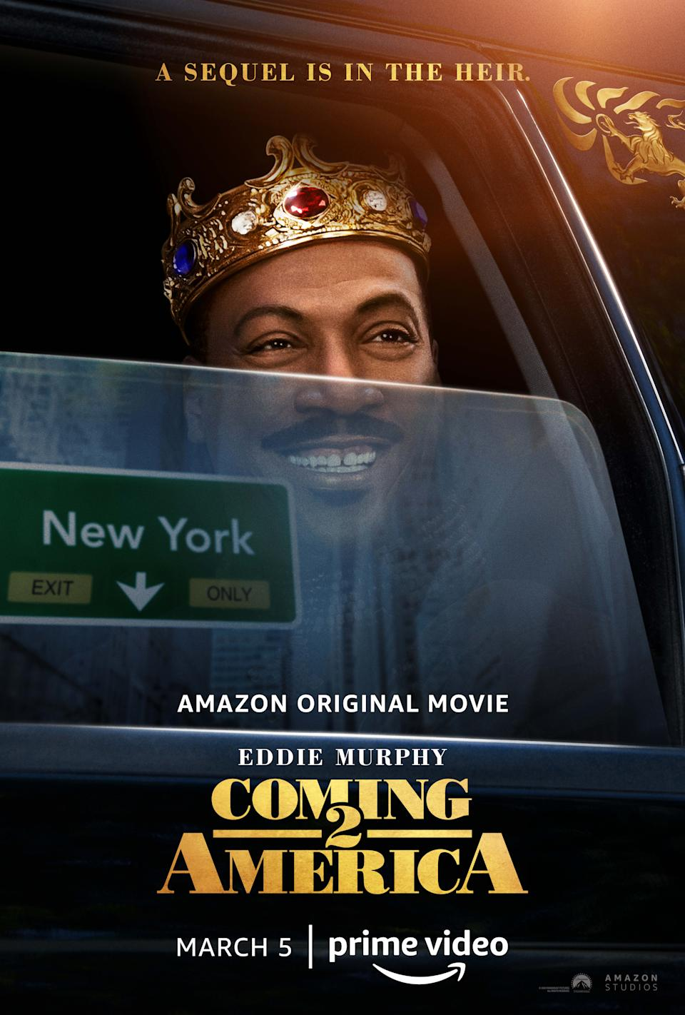 The poster for Coming 2 America featuring Eddie Murphy as King Akeem. (Amazon Prime Video)