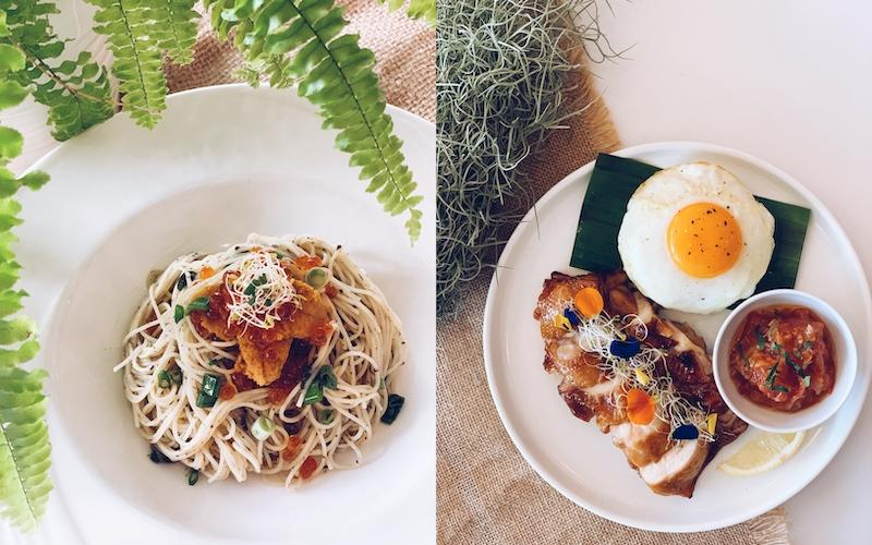 Uni truffle spaghetti and grilled chicken. Photos: Botany