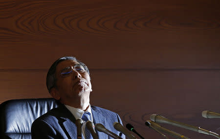 Bank of Japan Governor Kuroda attends a news conference at the BOJ headquarters in Tokyo