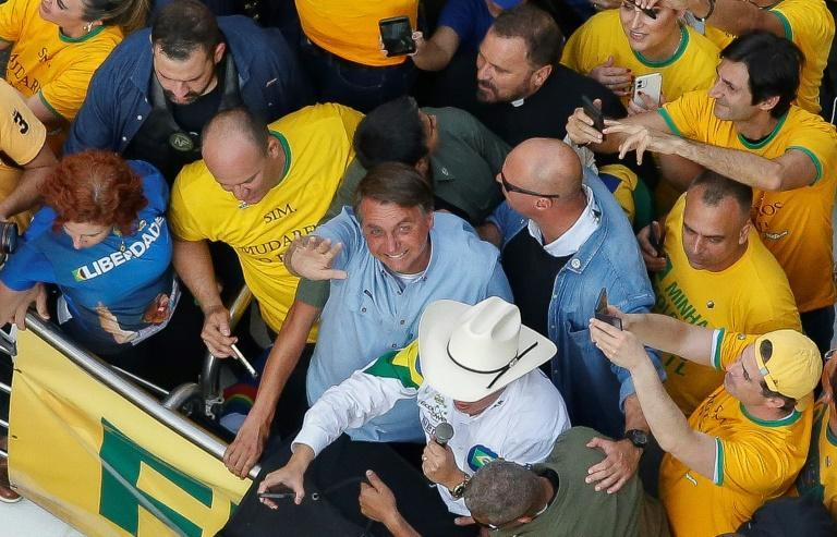 Brazilian President Jair Bolsonaro's handling of the coronavirus outbreak has contributed to his popularity tumbling to a low 24 percent (AFP/Miguel SCHINCARIOL)