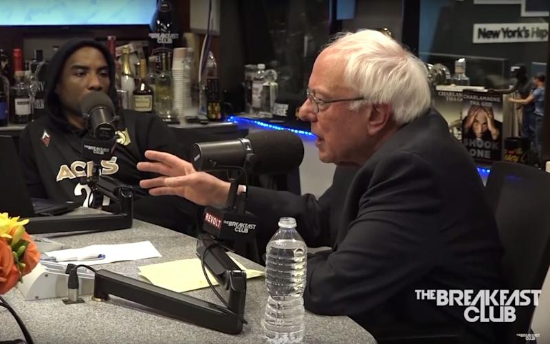 "Bernie Sanders speaks to Charlamagne tha God on ""The Breakfast Club"" on Monday. (Image: Courtesy of ""The Breakfast Club"")"
