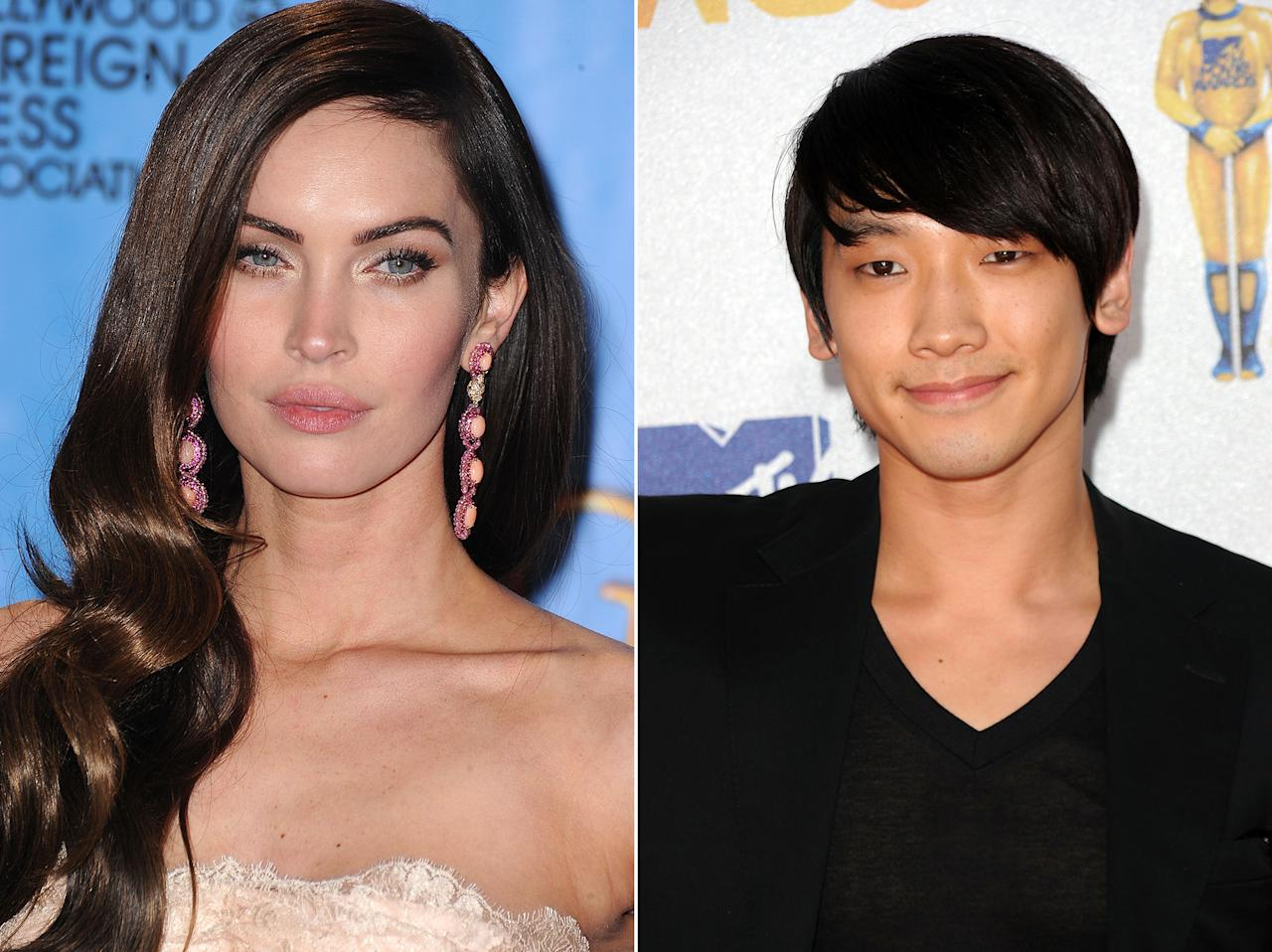 """Megan Fox had a huge crush on Korean pop star Rain before she was happily married. Rain is the Korean equivalent of Justin Timberlake. Fox may be a married mom now, but in a past interview she gushed over his """"40-pack abs"""" and invited him to look her up if he comes to the United States."""