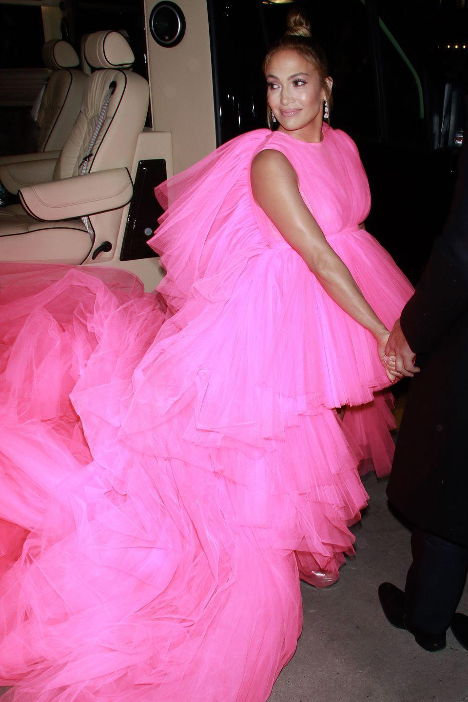 <p><strong>When: </strong>December 2018</p><p><strong>Where:</strong> Second Act premiere</p><p><strong>Wearing: </strong>Giambattista Valli</p>