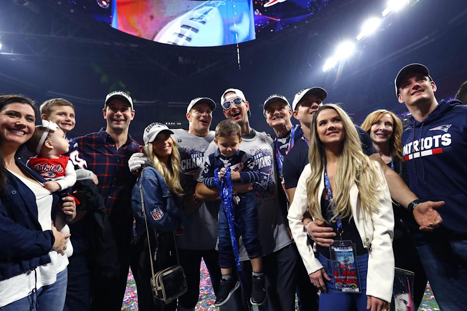 <p>Rob Gronkowski #87 of the New England Patriots celebrates with his family after his teams 13-3 win over the Los Angeles Rams during Super Bowl LIII at Mercedes-Benz Stadium on February 03, 2019 in Atlanta, Georgia. (Photo by Maddie Meyer/Getty Images) </p>