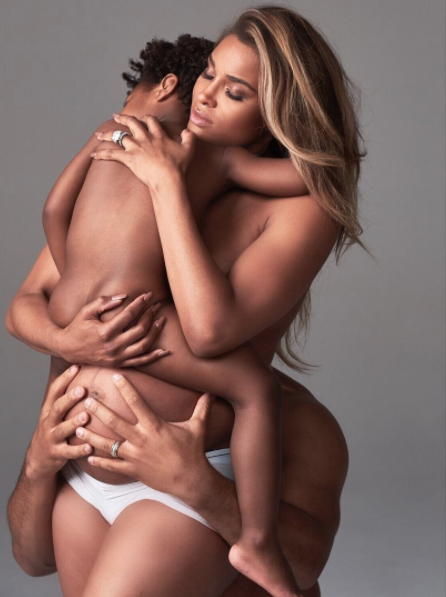 """<p>Ciara is celebrating her growing family by staring them in an adorable maternity shoot for Harper's Bazaar, but one particular photo definitely has fans talking. The standout image features a very pregnant Ciara holding her toddler son, Future Jr., whom Ciara shares with ex-boyfriend rapper Future, and her husband, Russell Wilson, who embraces them from behind. The family is nude (except for a pair of white underpants), with their limbs entwined and faces obscured. Some fans are calling the image """"disrespectful"""" toward the 2-year-old's biological father, suggesting that it crosses some type of step-dad line. <em>(Photo: Ciara/Twitter).</em> </p>"""