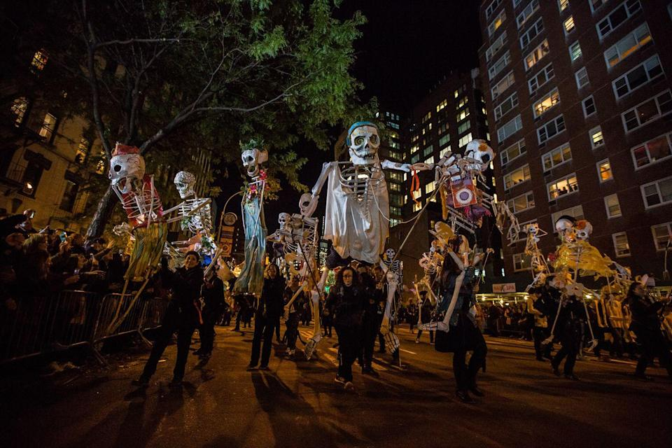 """<p>Answer: Manhattan's Greenwich Village has been hosting its annual <a href=""""https://halloween-nyc.com/"""" rel=""""nofollow noopener"""" target=""""_blank"""" data-ylk=""""slk:Halloween parade"""" class=""""link rapid-noclick-resp"""">Halloween parade</a> since 1973, each year going even more above and beyond than the previous one. </p>"""