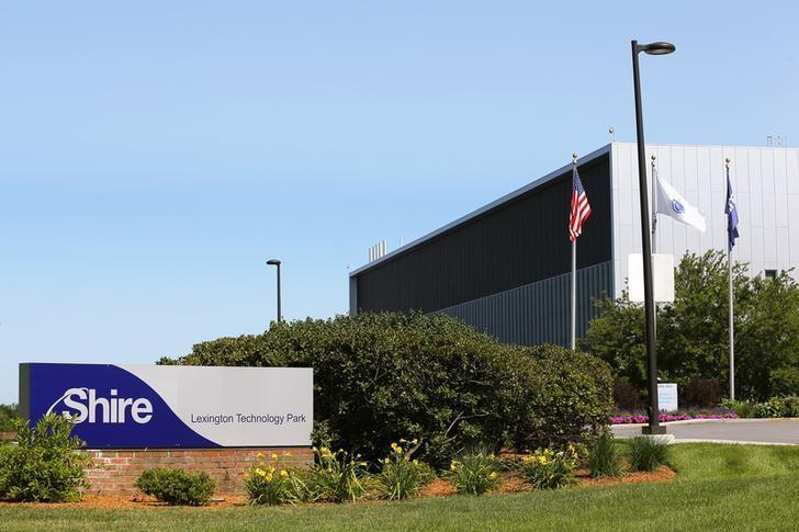 A sign sits in front of Shire's manufacturing facility in Lexington, Massachusetts