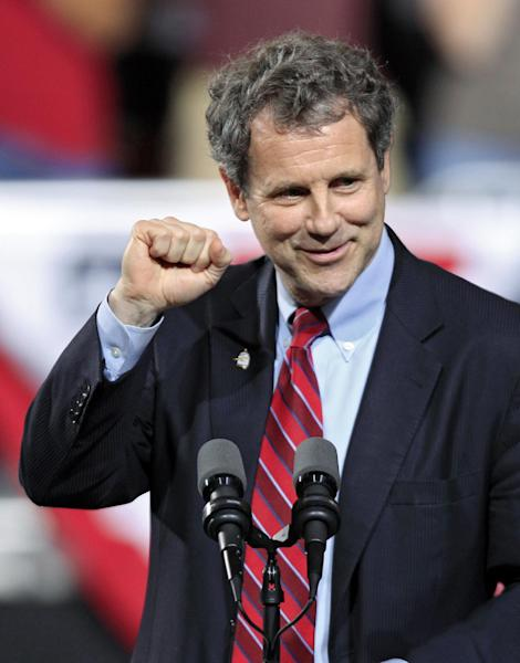 FILE - This May 5, 2012, file photo shows U.S. Sen. Sherrod Brown speaking before a campaign rally for President Barack Obama at Ohio State University in Columbus, Ohio. The GOP candidate for Senate in Ohio, Josh Mandel, drew murmurs of approval from southern Ohio Republicans during his discussion of budget and energy issues _ and plenty of laughs with his jokes about his boyish appearance. The 35-year-old Mandel _ he looks 19 _ is a onetime city councilman, state legislator and Marine veteran of Iraq. His opponent is a 59-year-old populist Democrat, first-term Brown. (AP Photo/Mark Duncan, File)
