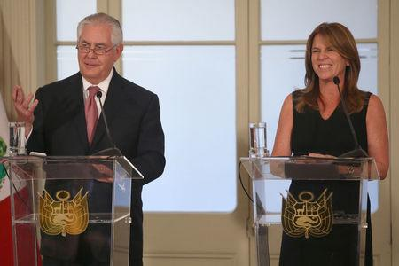 U.S. Secretary of State Rex Tillerson and Peruvian Foreign Minister Cayetana Aljovin hold a news conference in Lima, Peru, February 5, 2018. REUTERS/Guadalupe Pardo