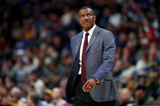 "Detroit Pistons coach Dwane Casey looks at the clock during a game against the <a class=""link rapid-noclick-resp"" href=""/nba/teams/denver/"" data-ylk=""slk:Denver Nuggets"">Denver Nuggets</a> at the Pepsi Center on February 25, 2020, in Denver, Colorado. (Jamie Schwaberow/Getty Images)"