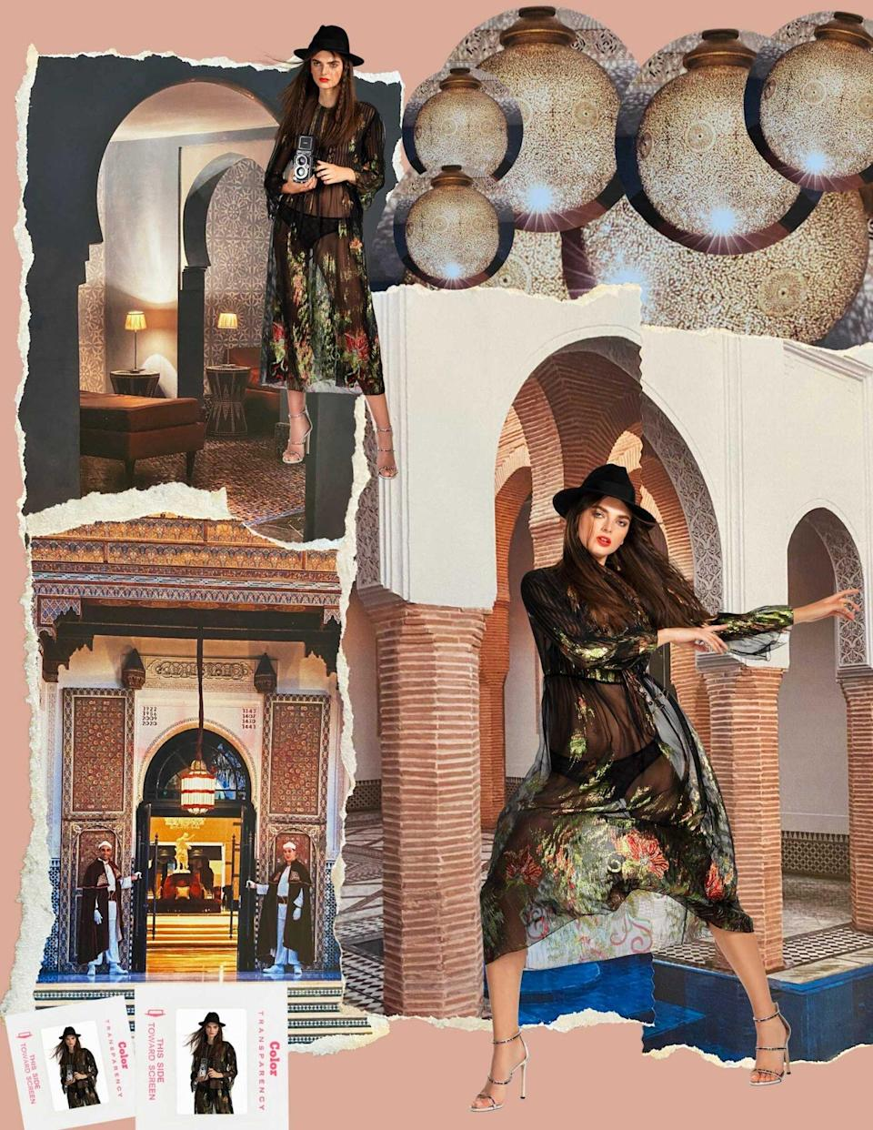 Photos of a model wearing a sheer black dress are superimposed over images of the hotel La Mamounia