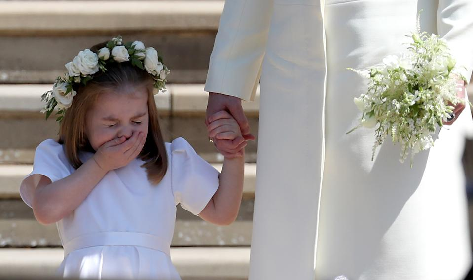 <p>Somehow she even stole the show with a sneeze, which was caught as she stood outside St George's Chapel after uncle Prince Harry's wedding in 2018. (Jane Barlow - WPA Pool/Getty Images)</p>