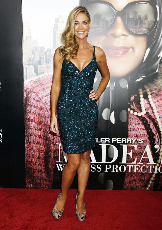 "Denise Richards hasn't appeared in 2 Hot 2 Handle in over three years, but she earned herself a spot in this week's gallery thanks to the dazzling cocktail dress and lace-adorned peep-toes she wore to the NYC premiere of <a target=""_blank"" href=""http://movies.yahoo.com/movie/madea-s-witness-protection/"">""Madea's Witness Protection.""</a> Yes, her faux tan is a tad dark, but we still have to give her props for pulling it together. (6/25/2012)"