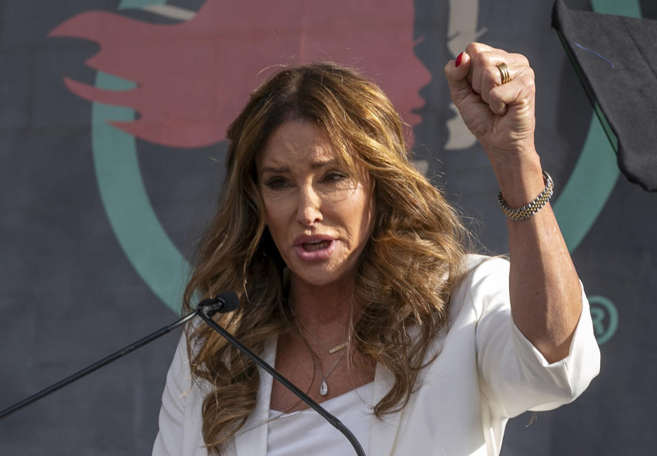 FILE - In this Jan. 18, 2020, file photo, Caitlyn Jenner speaks at the fourth Women's March in Los Angeles. Jenner, a Republican candidate for California governor, is offering mixed messages about her voting record as she told CNN that she did not vote in the 2020 election, but Los Angeles County records show she did. A fading coronavirus crisis and an astounding windfall of tax dollars have reshuffled California's emerging recall election, allowing Democratic Gov. Gavin Newsom to talk of a mask-free future and propose billions in new spending for schools and businesses as he looks to fend off Republicans who depict him as a foppish failure. (AP Photo/Damian Dovarganes, File)