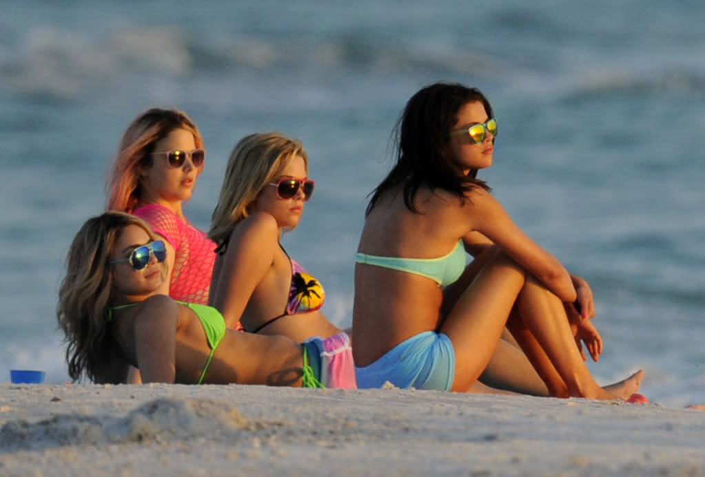 """March 13, 2012: Rachel Korine, Ashley Benson, Vanessa Hudgens and Selena Gomez seen playing in the surf at the beach during the filming of """"Spring Breakers"""" in St. Petersburg, Florida.  Mandatory Credit: INFphoto.com Ref: infusmi-13"""