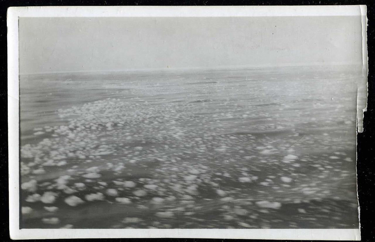 "<span style=""font-family:Arial;"">An original </span><span style=""font-family:Arial;"">3"" x 5 1/2"" photo, taken from the deck of the Carpathia, shows the icy ocean.</span><br><br>(Photo courtesy of <a target=""_blank"" href=""http://www.weissauctions.com/"">Phillip Weiss Auctions</a>)"