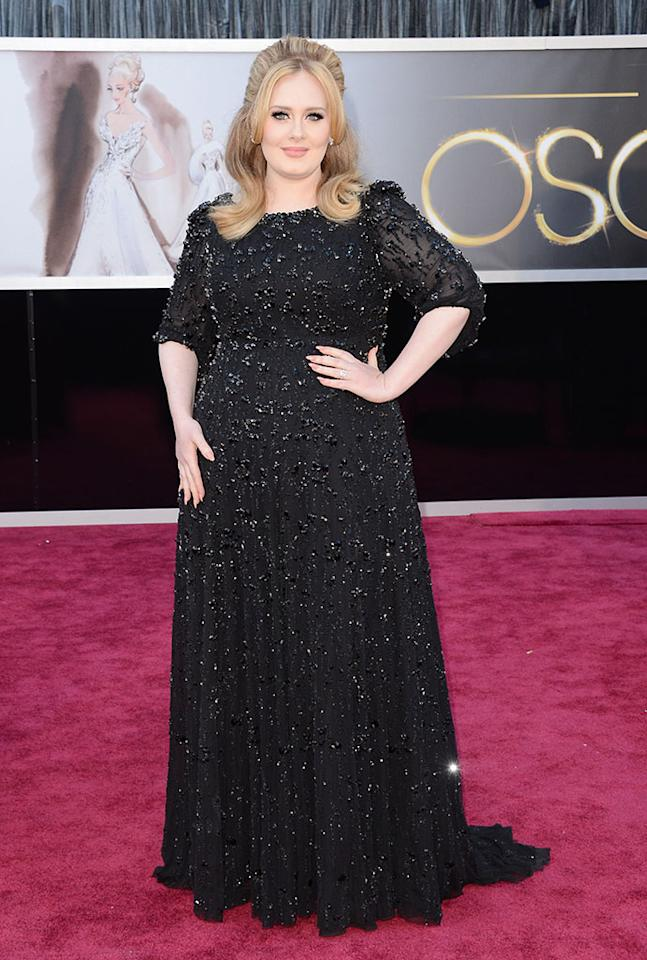 Adele arrives at the Oscars in Hollywood, California, on February 24, 2013.