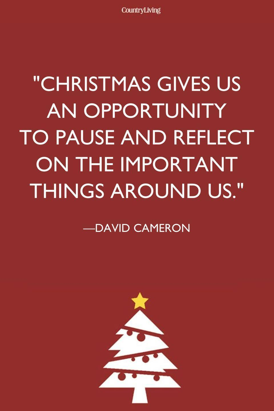 """<p>""""Christmas gives us an opportunity to pause and reflect on the important things around us.""""</p>"""