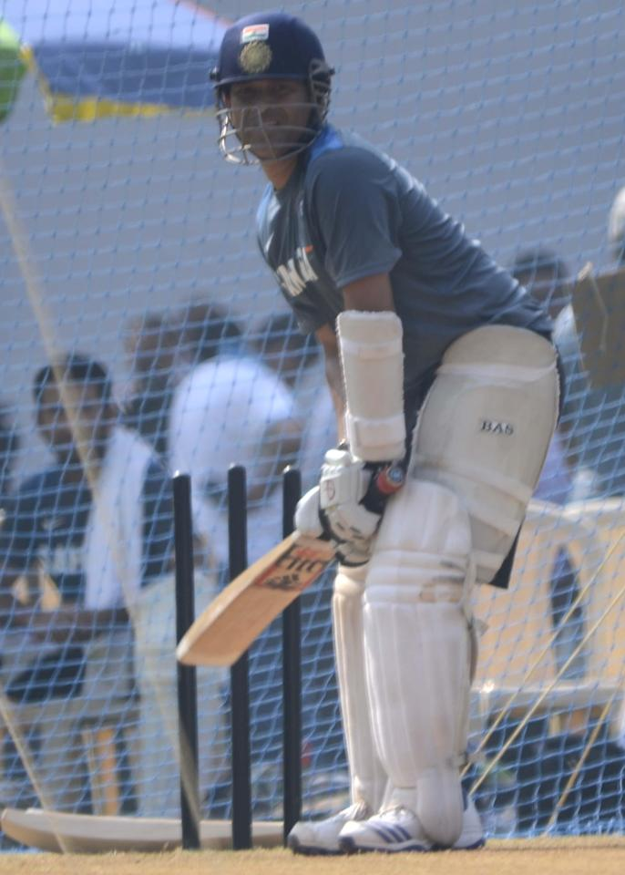 Indian cricketer Sachin Tendulkar during practice session ahead of his 200th and the last test match at at Wankhede stadium in Mumbai on Nov.13, 2013. (Photo: Sandeep Mahankaal/IANS)