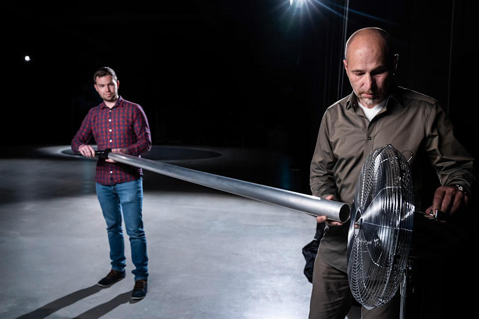 """Audi sound engineers Stephan Gsell and Rudolf Halbmeir experiment with sound-production techniques<span class=""""copyright"""">Courtesy Audi</span>"""