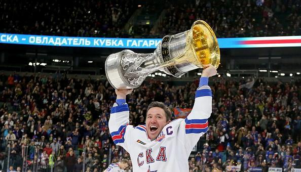 ST PETERSBURG, RUSSIA – APRIL 18, 2017: SKA St Petersburg's Ilya Kovalchuk holds the KHL Gagarin Cup after a friendly match with participation of SKA St Petersburg's current roster, management and coaching staff as part of an event to celebrate HC SKA St Petersburg's victory in the 2016/2017 Kontinental Hockey League Championship, at Ice Palace. Alexander Demianchuk/TASS (Photo by Alexander DemianchukTASS via Getty Images)