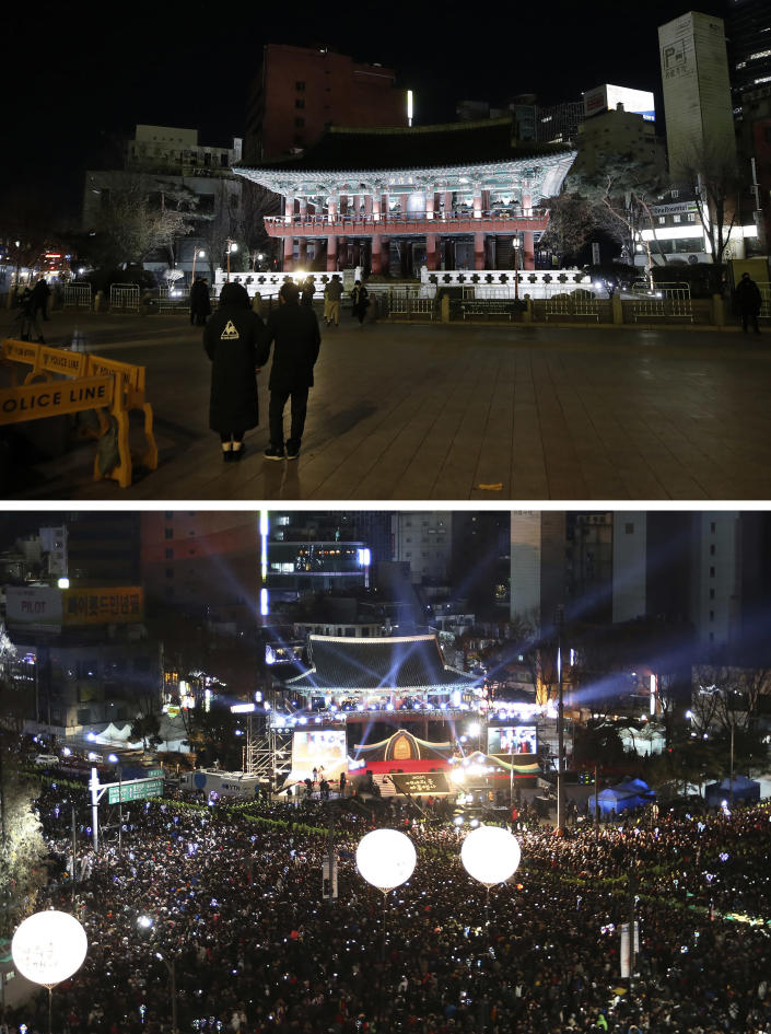 A combo image showing Bosingak pavilion where the place for the annual New Year's Eve bell-ringing ceremony, the top photo taken on Thursday, Dec. 31, 2020 and the bottom one on Friday, Jan. 1, 2018. In South Korea, Seoul's city government canceled its annual New Year's Eve bell-ringing ceremony in the Jongno neighborhood for the first time since the event was first held in 1953, months after the end of the Korean War. The ceremony, in which citizens ring a large bell in a traditional pavilion when the clock strikes midnight, normally draws an estimated 100,000 people and is broadcast live. (AP Photo/Lee Jin-man, Ahn Young-joon)