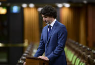 <p>Prime Minister Justin Trudeau delivers a statement in the House of Commons on Parliament Hill in Ottawa on Tuesday, June 8, 2021, regarding the recent tragedy in London, Ontario. THE CANADIAN PRESS/Sean Kilpatrick</p>
