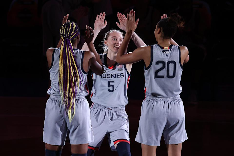 UConn point guard Paige Bueckers (5) has a social media profile that ranks among the top for female college athletes.