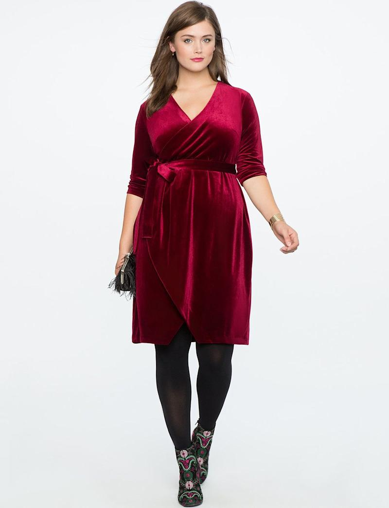 "From <a href=""http://www.eloquii.com/velvet-wrap-dress/1245189.html?cgid=event-dresses&dwvar_1245189_colorCode=41&start=47"" target=""_blank"">Eloquii</a>. Comes up to a size 28."