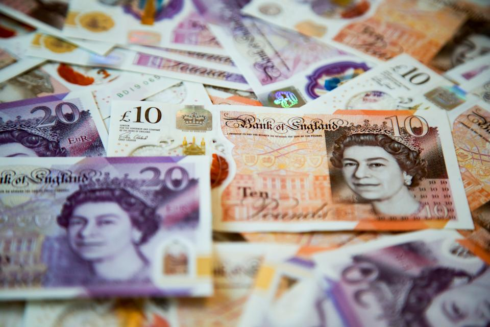 UNITED KINGDOM - 2020/08/19: In this photo illustration, a collection of British ten and twenty pound sterling banknotes are displayed. (Photo Illustration by Dinendra Haria/SOPA Images/LightRocket via Getty Images)