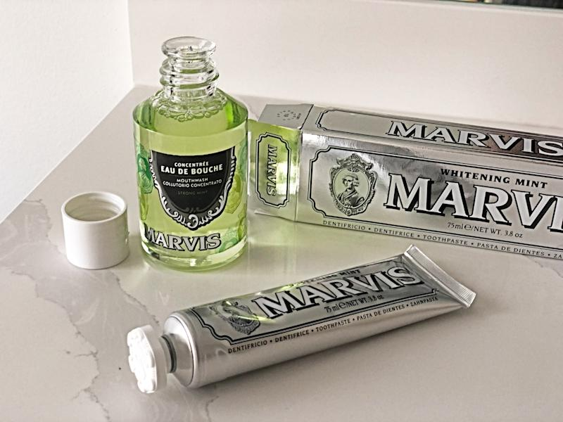 Marvis Strong Mint Mouthwash Concentrate and Whitening Mint Toothpaste (Photo by Anastasia Barbuzzi)