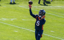 Denver Broncos quarterback Teddy Bridgewater (5), throws during a Denver Broncos OTA at the team's headquarters Monday, May 24, 2021, in Englewood, Colo. (AP Photo/Jack Dempsey)