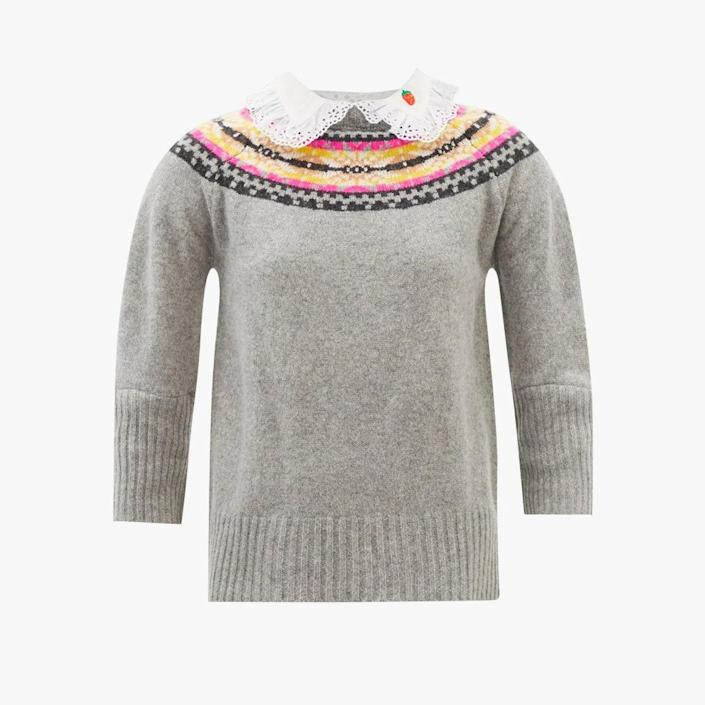 """$593, MATCHESFASHION.COM. <a href=""""https://www.matchesfashion.com/us/products/La-Fetiche-Twigs-broderie-anglaise-and-wool-Fair-Isle-sweater-1445495"""" rel=""""nofollow noopener"""" target=""""_blank"""" data-ylk=""""slk:Get it now!"""" class=""""link rapid-noclick-resp"""">Get it now!</a>"""