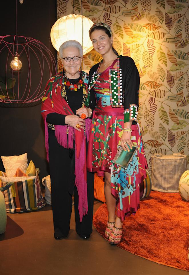 MILAN, ITALY - APRIL 16:  ( L - R ) Rosita Missoni and Margherita Missoni attend Missoni Loves Leaves cocktail party during the Milan Design Week on April 16, 2012 in Milan, Italy.  (Photo by Pier Marco Tacca/Getty Images)