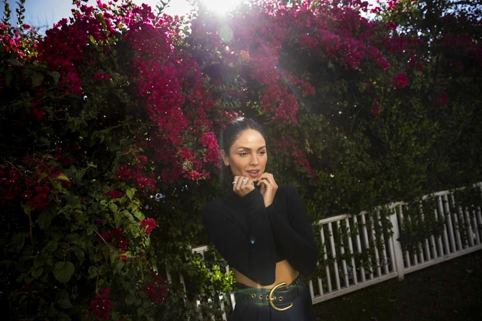 Eiza Gonzalez is photorgraphed in the backyard of her Sherman Oaks, CA, home, on Wednesday, March 24, 2021.