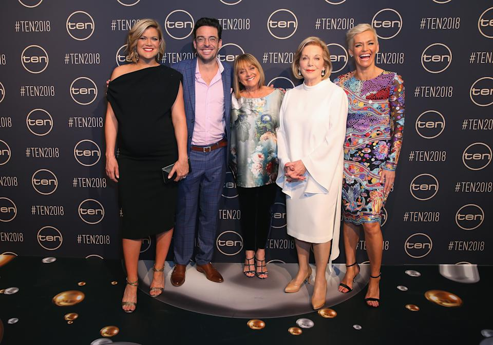 Sarah Harris, Joe Hildebrand, Denise Drysdale, Ita Buttrose and Jessica Rowe pose during the Network Ten 2018 Upfronts on November 9, 2017 in Sydney, Australia.  (Photo by Don Arnold/WireImage)