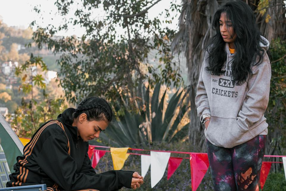 NEVER HAVE I EVER (L to R) MEGAN SURI as ANEESA and MAITREYI RAMAKRISHNAN as DEVI VISHWAKUMAR in episode 205 of NEVER HAVE I EVER Cr. ISABELLA B. VOSMIKOVA/NETFLIX © 2021 - Credit: ISABELLA B. VOSMIKOVA/NETFLIX