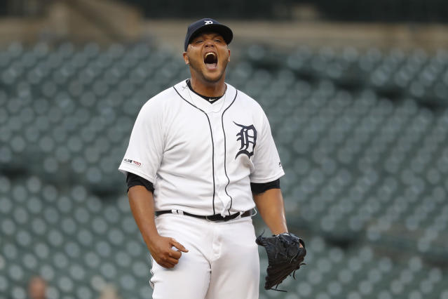 Detroit Tigers relief pitcher Joe Jimenez reacts after striking out Baltimore Orioles' Trey Mancini for the final out in the ninth inning of a baseball game in Detroit, Monday, Sept. 16, 2019. (AP Photo/Paul Sancya)