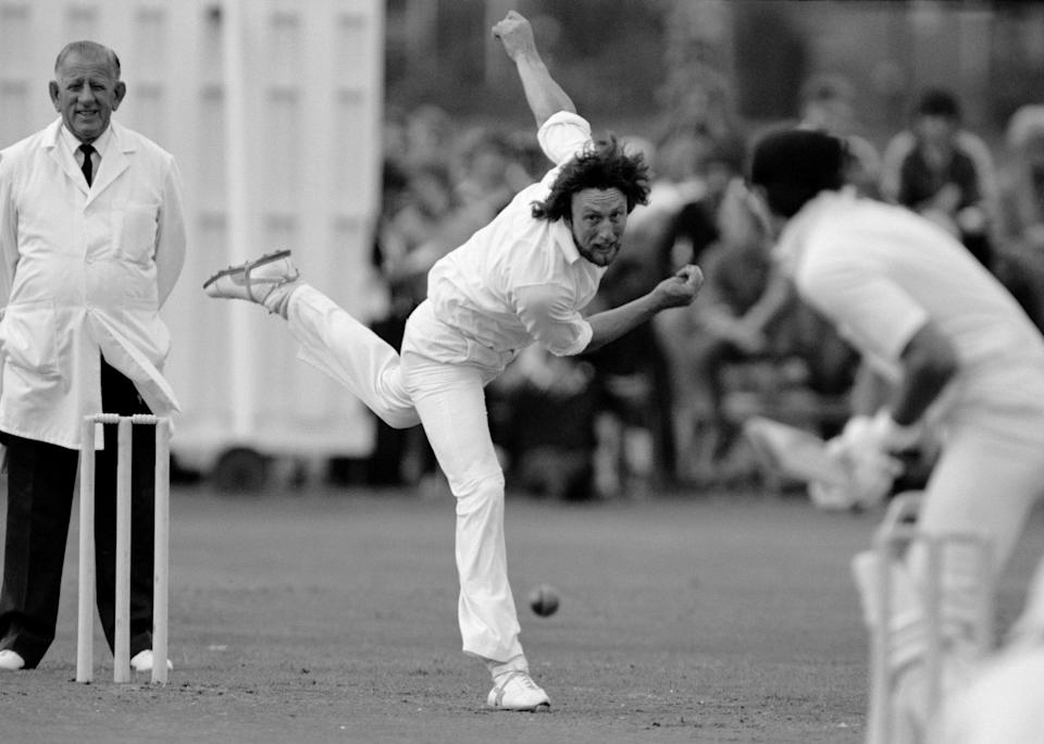 Hendrick bowling for Derbyshire against Suffolk in the first round of the 1981 NatWest Trophy: they would go on to beat Northamptonshire in the final, winning their first one-day silverware - Patrick Eagar/Popperfoto via Getty Images
