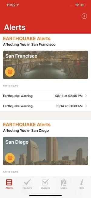Screenshot of the American Red Cross Emergency Alerts app showing example alerts for San Francisco and San Diego
